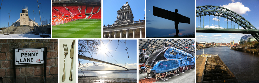 image-top,L-R:Liverpool Cathedral, Man Utd, Leeds Town Hall, Angel of the North, Tyne bridges; Bottom, L-R: Penny Lane, Sheffield steel, Humber Bridge, Mallard NRM York
