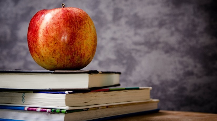 image of educational books and apple