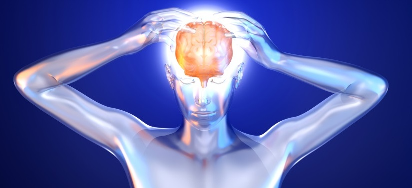 image of man holding head showing brain