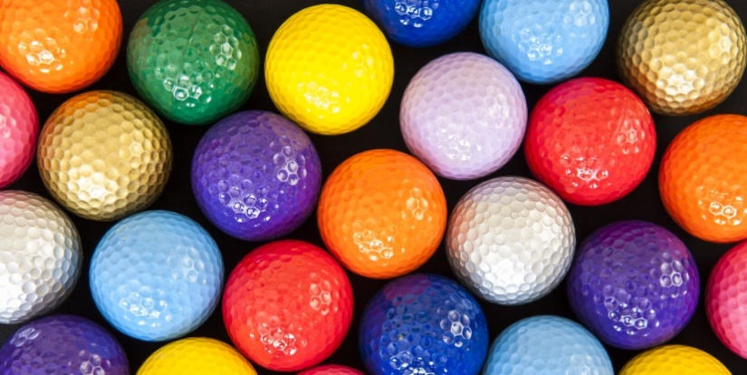 image of colourful golfballs