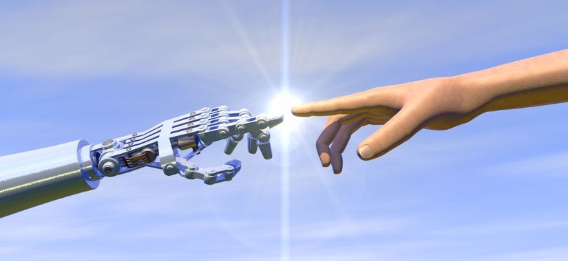image of human and robotic hands touching