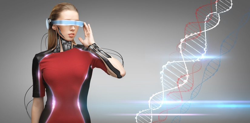 image of woman + smart glasses & DNA code